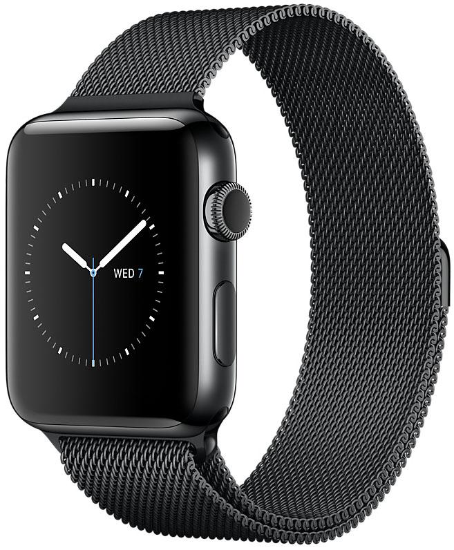 Apple Watch Series 2, Корпус 42 мм из нержавеющей стали цвета «чёрный космос», миланский сетчатый браслет цвета «чёрный космос» (MNQ12)