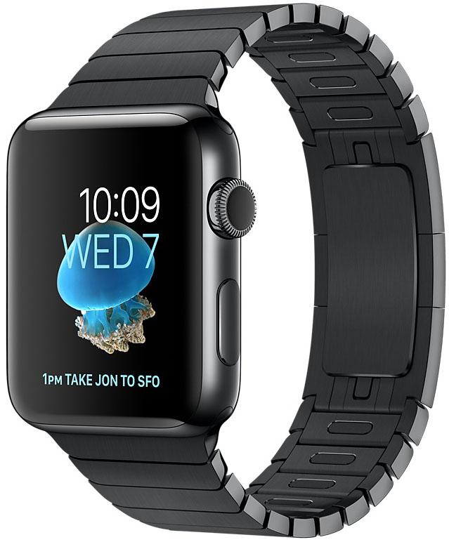 Apple Watch Series 2, Корпус 42 мм из нержавеющей стали цвета «чёрный космос», блочный браслет цвета «чёрный космос» (MNQ02)