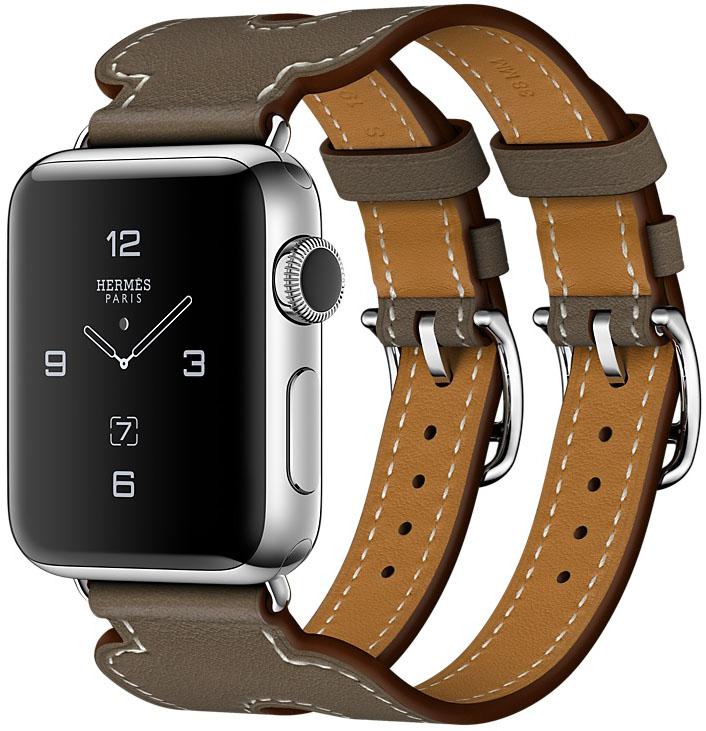 Apple Watch Series 2 Hermès, Корпус 38 мм из нержавеющей стали, ремешок Manchette из кожи Swift цвета Étoupe с двойной пряжкой (MNQ72)
