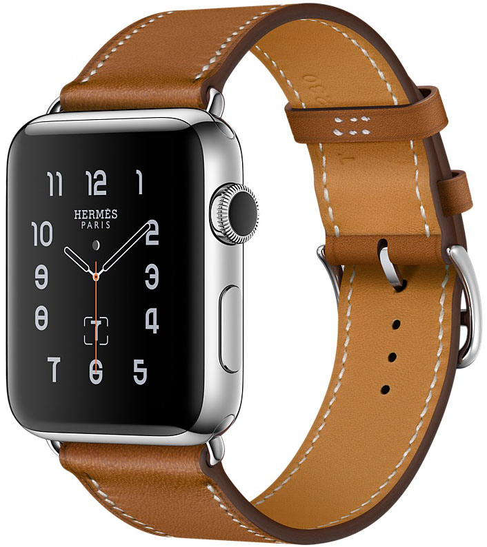 Apple Watch Series 2, Корпус 38 мм из нержавеющей стали, ремешок Simple Tour из кожи Barenia цвета Fauve (MNQ82)