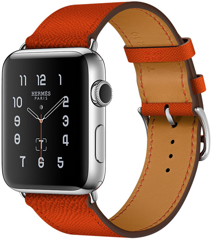 Apple Watch Series 2, Корпус 42 мм из нержавеющей стали, ремешок Simple Tour из кожи Epsom цвета Feu (MNQ22)