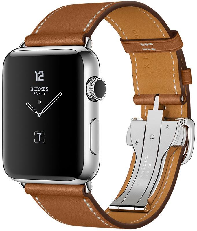 Apple Watch Series 2, Корпус 42 мм из нержавеющей стали, ремешок Simple Tour из кожи Barenia цвета Fauve с раскладывающейся застёжкой (MNQ32)
