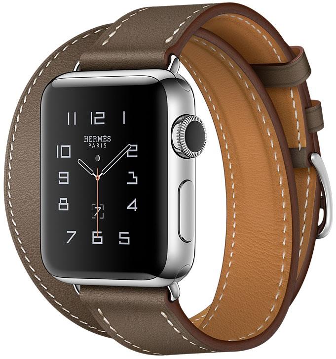 Apple Watch Series 2, Корпус 38 мм из нержавеющей стали, ремешок Double Tour из кожи Swift цвета Étoupe (MNQ52)
