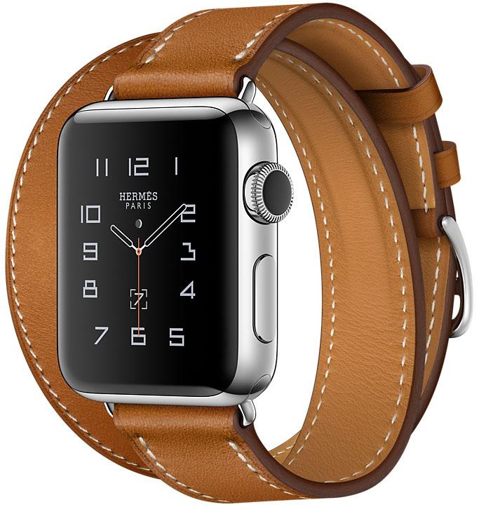 Apple Watch Series 2, Корпус 38 мм из нержавеющей стали, ремешок Double Tour из кожи Barenia цвета Fauve (MNQ92)