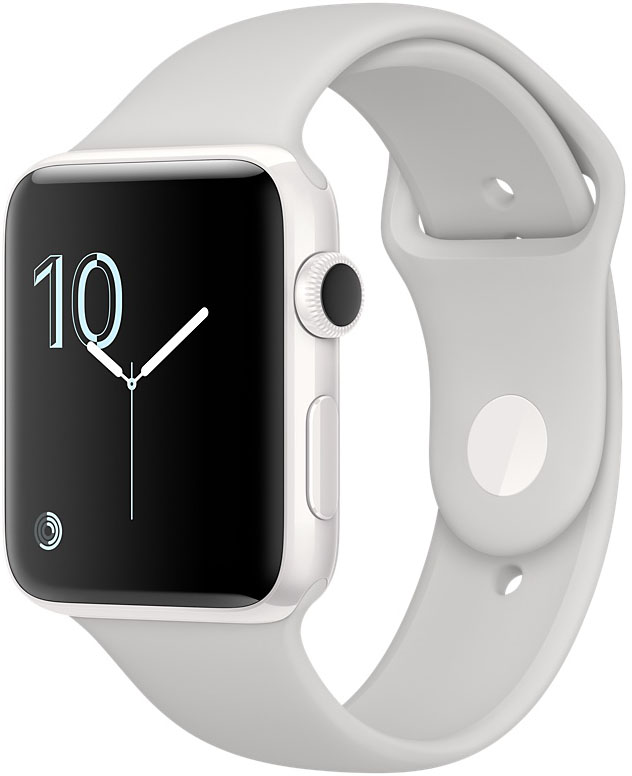Apple Watch Edition, Корпус 38 мм из белой керамики, спортивный ремешок цвета «светлое облако» (MNPF2)
