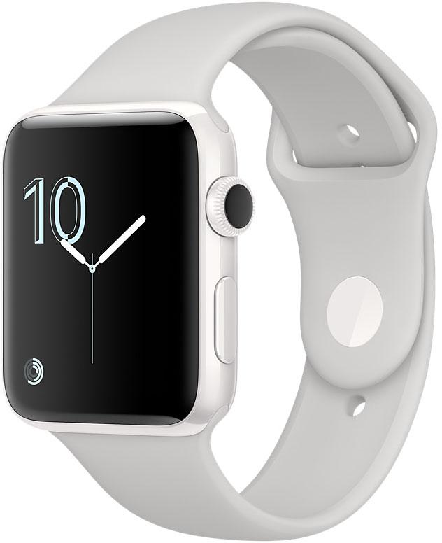 Apple Watch Edition, Корпус 42 мм из белой керамики, спортивный ремешок цвета «светлое облако» (MNPQ2)