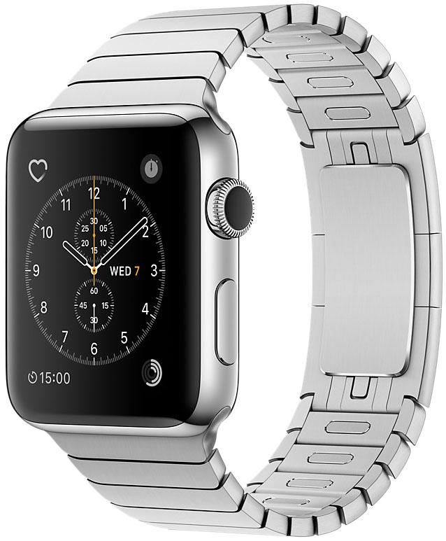 Apple Watch Series 2, Корпус 38 мм из нержавеющей стали, блочный браслет (MNP52)