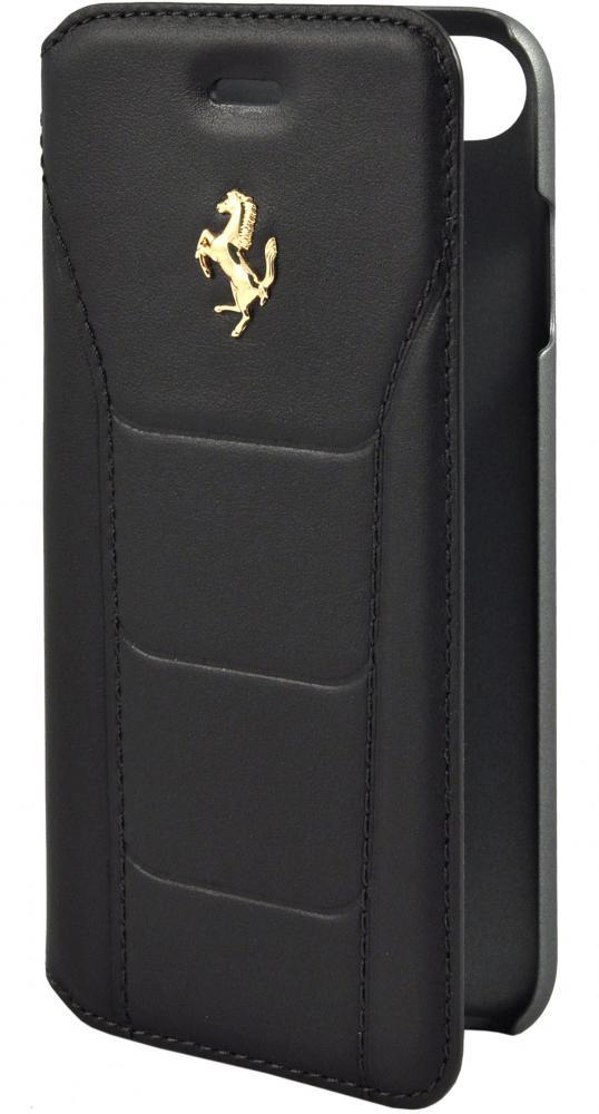 Чехол книжка кожаный Ferrari 488 (Gold) Booktype Leather Black для iPhone 7/8 (черный)