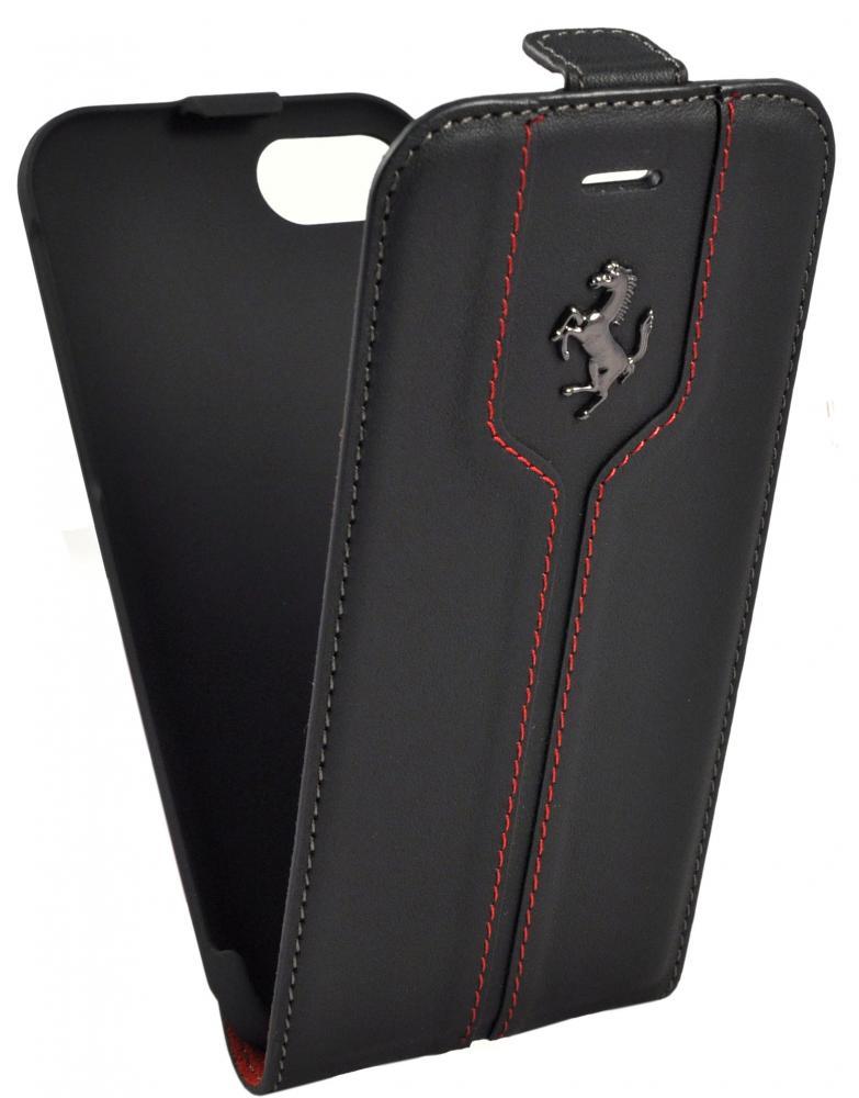 Чехол флип-кейс кожаный Ferrari Montecarlo Flip Leather Black для iPhone 7/8 (черный)