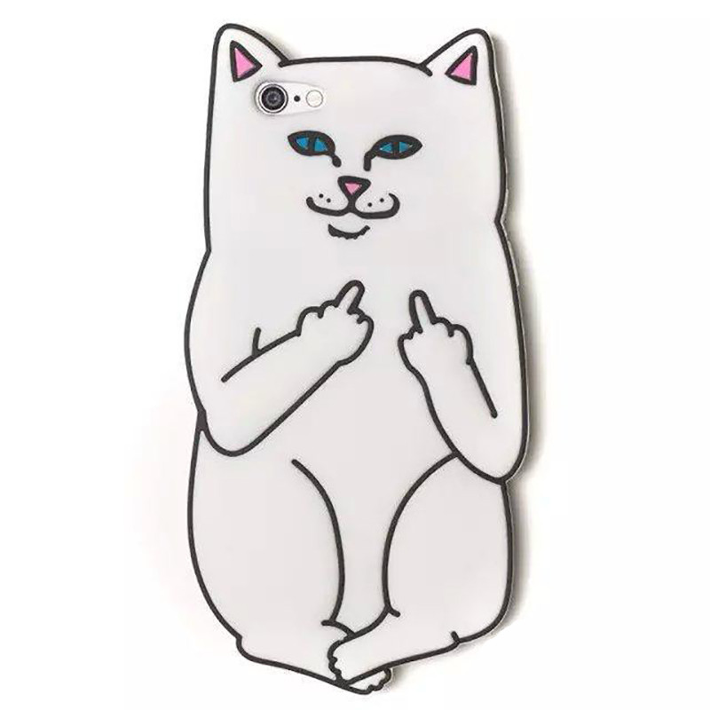 Чехол клип-кейс силиконовый для Apple iPhone 7/8 кот Lord Nermal (белый)