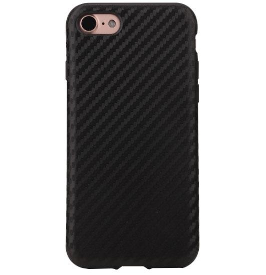 Чехол клип-кейс силиконовый для Apple iPhone 7/8 карбон (черный)