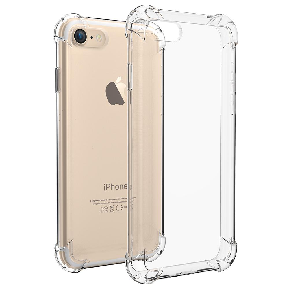 Чехол клип-кейс для Apple iPhone 7/8 из плотного силикона с усиленными уголками (прозрачный)