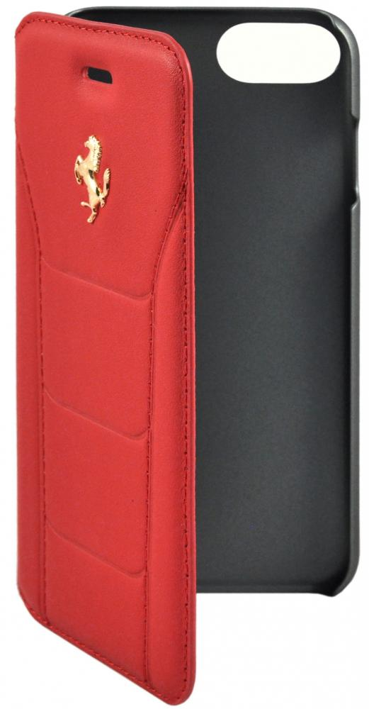 Чехол книжка кожаный Ferrari 488 (Gold) Booktype Leather Black для iPhone 7/8 (красный)