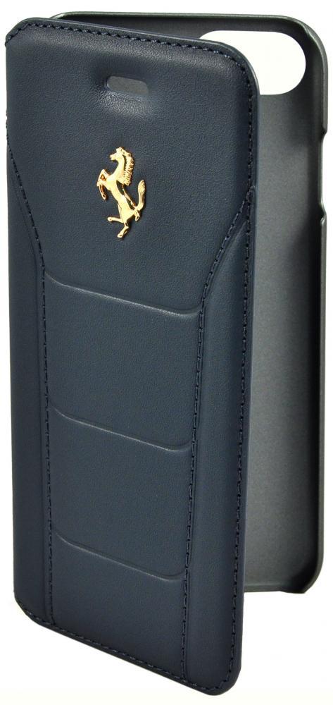 Чехол книжка кожаный Ferrari 488 (Gold) Booktype Leather Black для iPhone 7/8 (синий)