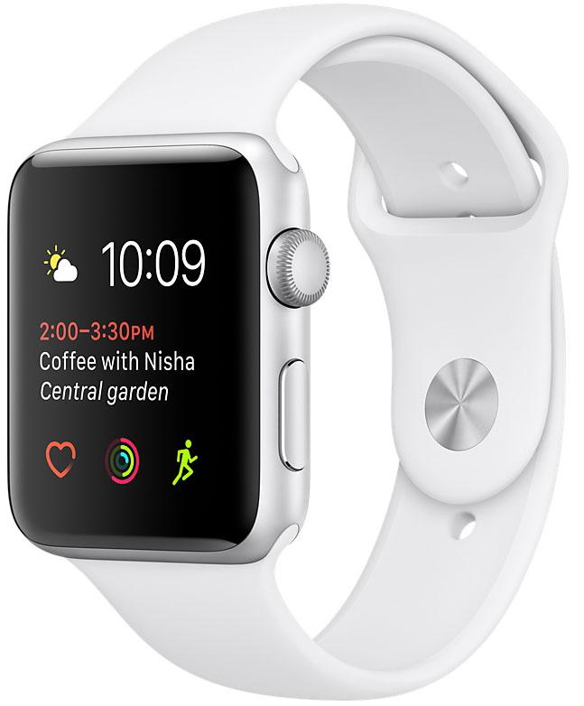 Apple Watch Series 1, Корпус 38 мм из серебристого алюминия, спортивный ремешок белого цвета (MNNG2)