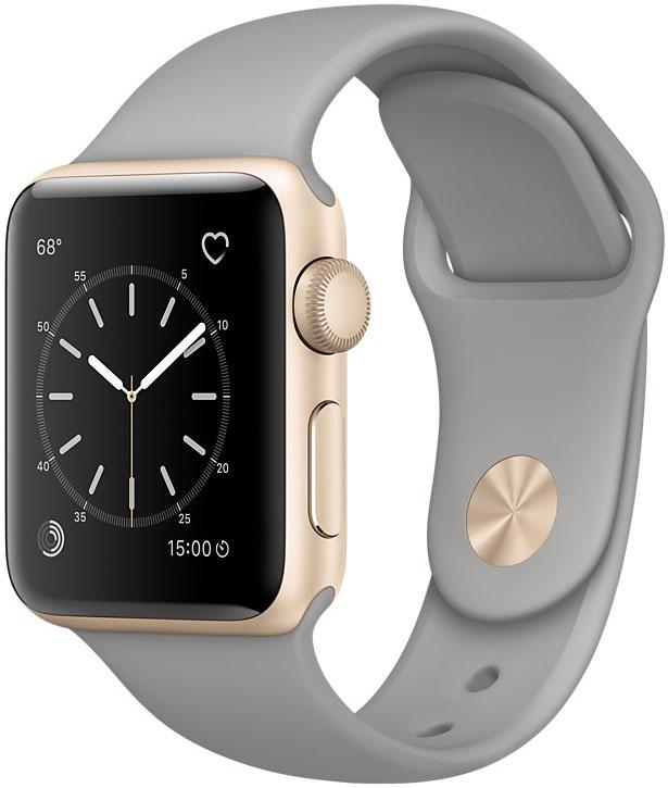 Apple Watch Series 1, Корпус 38 мм из золотистого алюминия, спортивный ремешок цвета «серый камень» (MNNJ2)