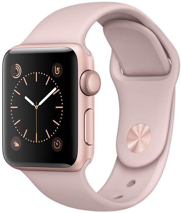 Apple Watch Series 1, Корпус 38 мм из алюминия цвета «розовое золото», спортивный ремешок цвета «розовый песок» (MNNH2)