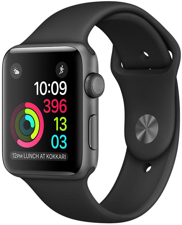 Apple Watch Series 1, Корпус 38 мм из алюминия цвета «серый космос», спортивный ремешок чёрного цвета (MP022)