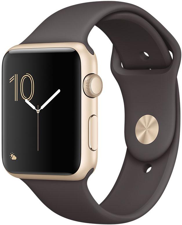 Apple Watch Series 1, Корпус 42 мм из золотистого алюминия, спортивный ремешок цвета «тёмное какао» (MNNN2)