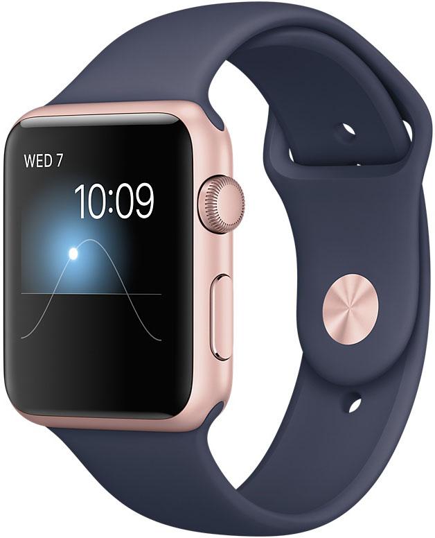 Apple Watch Series 1, Корпус 42 мм из алюминия цвета «розовое золото», спортивный ремешок тёмно‑синего цвета (MNNM2)