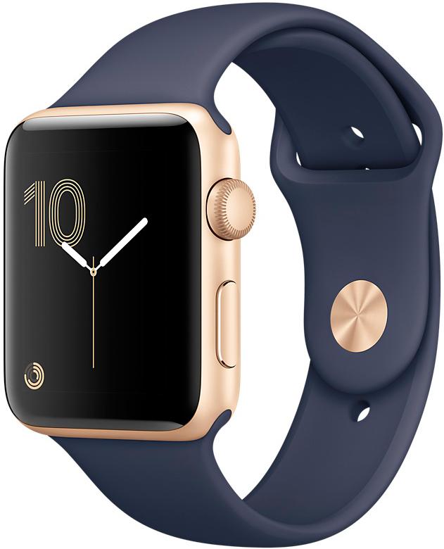 Apple Watch Series 1, Корпус 42 мм из золотистого алюминия, спортивный ремешок тёмно‑синего цвета (MQ122)