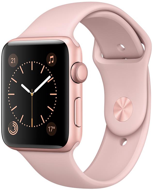 Apple Watch Series 1, Корпус 42 мм из алюминия цвета «розовое золото», спортивный ремешок цвета «розовый песок» (MQ112)