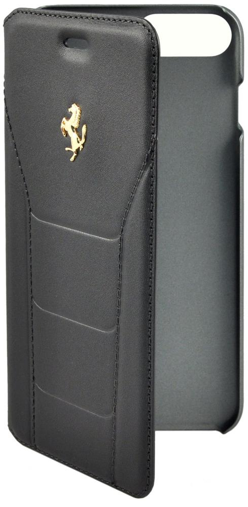 Чехол книжка кожаный Ferrari 488 (Gold) Booktype Leather Black для Apple iPhone 7 Plus (черный)