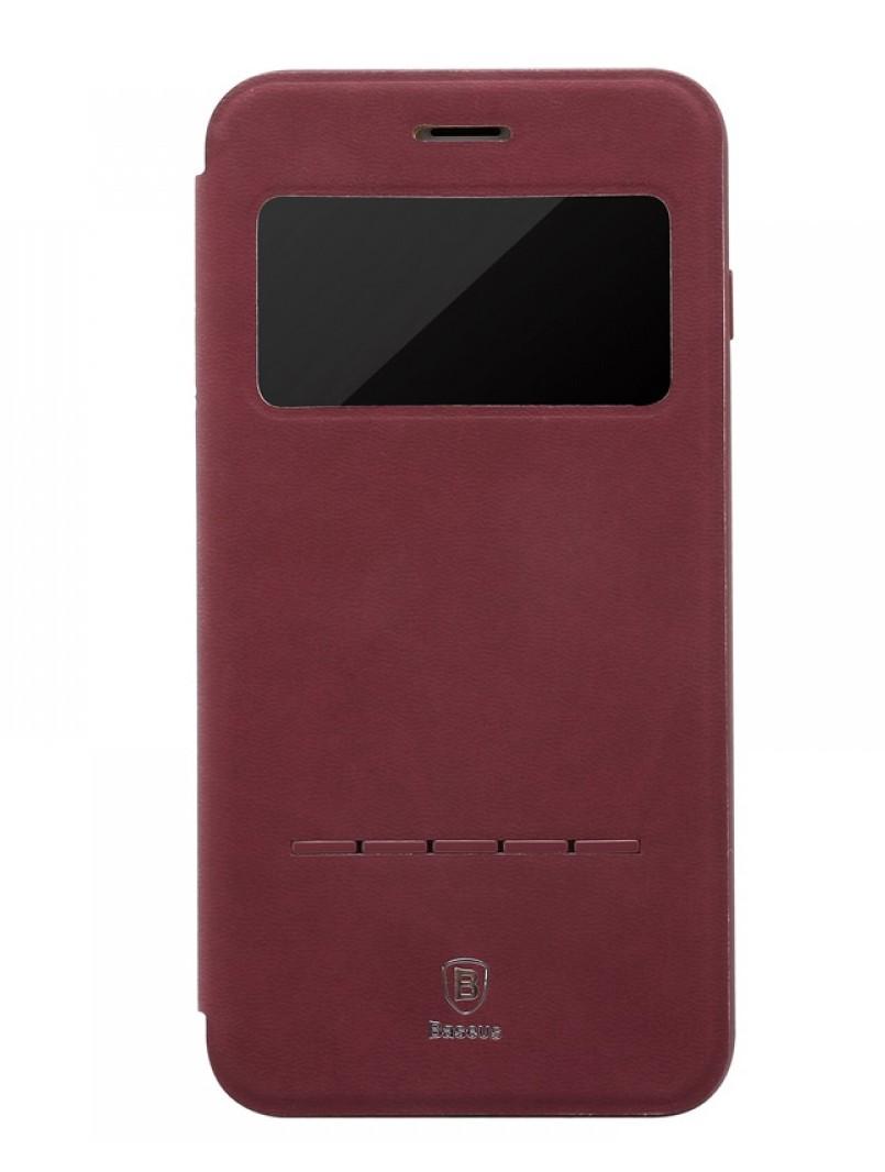 Чехол-книжка Baseus Terse Leather Case с окошком для Apple iPhone 7 Plus/8 Plus кожаный (бордовый)
