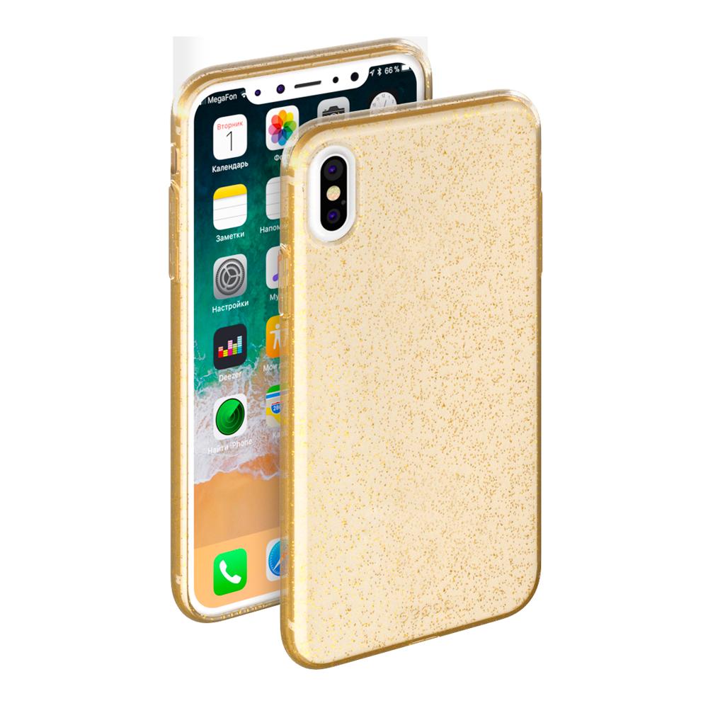 Чехол клип-кейс Deppa Chic для iPhone X с рамкой (золотой)