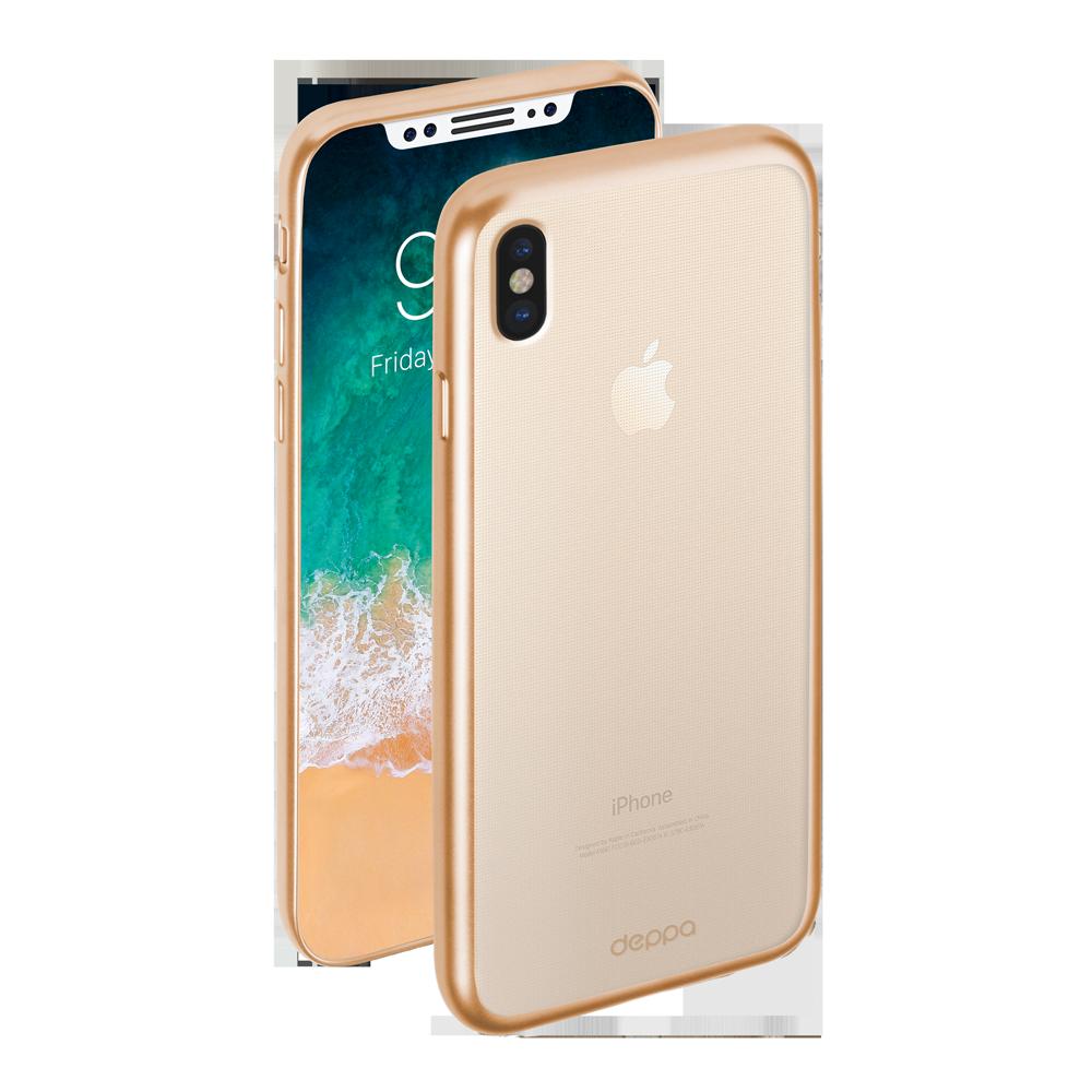 Чехол клип-кейс Deppa Gel Plus матовый для iPhone X/XS с рамкой (золотой)