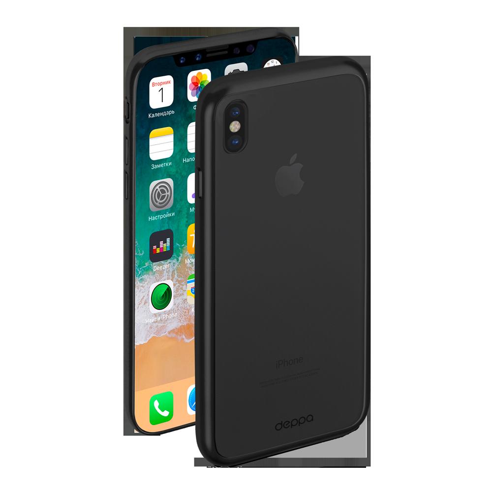 Чехол клип-кейс Deppa Gel Plus матовый для iPhone X с рамкой (черный)