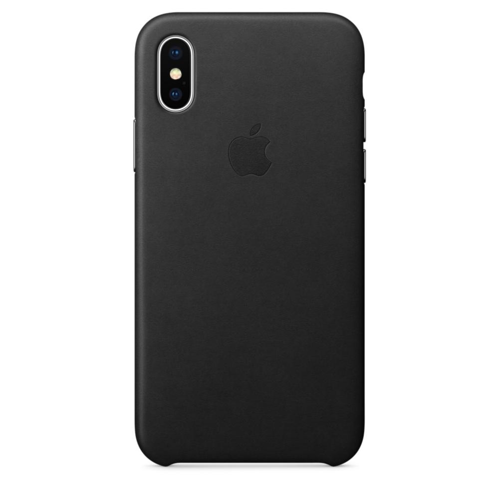 Чехол клип-кейс кожаный Apple Leather Case для iPhone X чёрный цвет (MQTD2ZM/A)