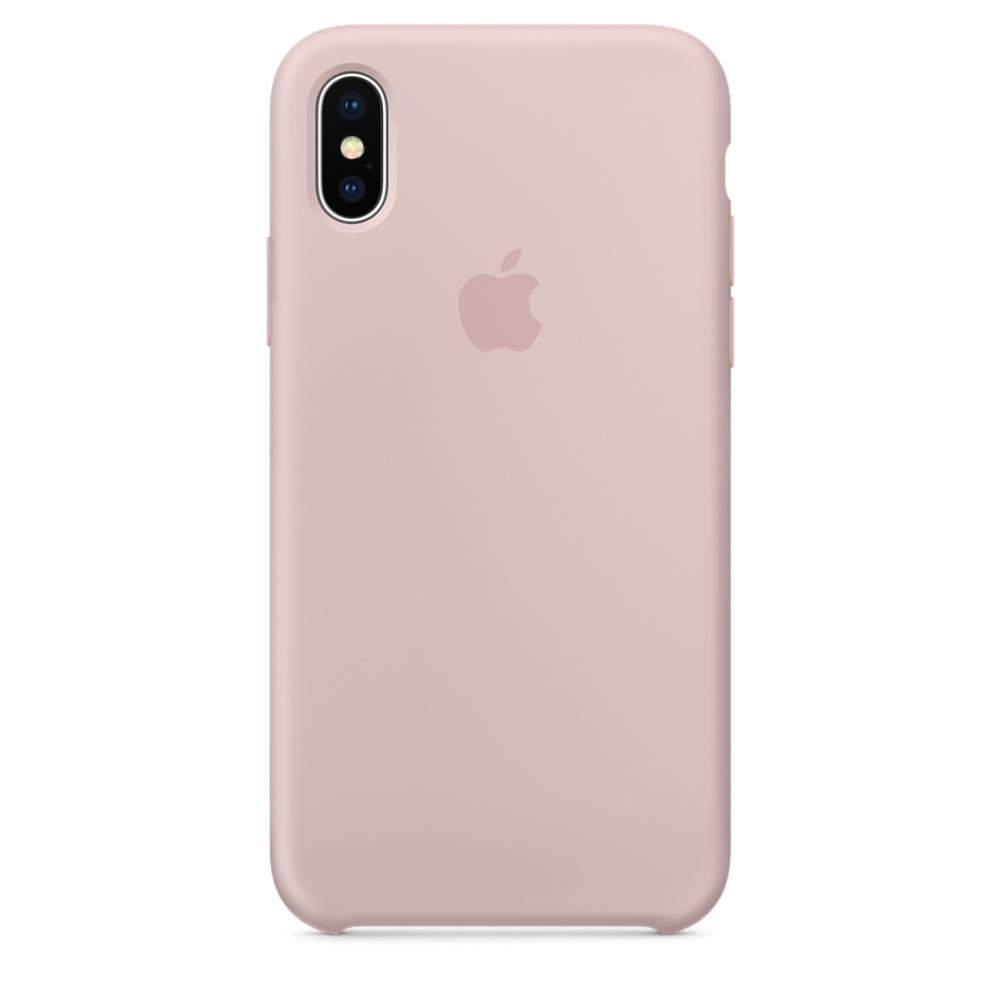 Чехол клип-кейс силиконовый Apple Silicone Case для iPhone X, цвет «розовый песок» (MQT62ZM/A)