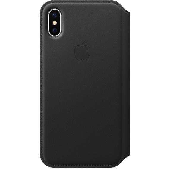 Чехол-книжка кожаный Apple Leather Folio для iPhone X, чёрный цвет (MQRV2ZM/A)