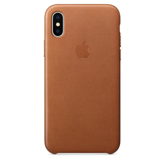 Чехол клип-кейс кожаный Apple Leather Case для iPhone X, золотисто-коричневый цвет (MQTA2ZM/A)