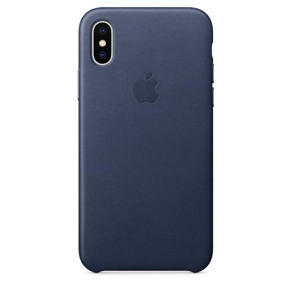 Чехол клип-кейс кожаный Apple Leather Case для iPhone X, тёмно-синий цвет (MQTC2ZM/A)