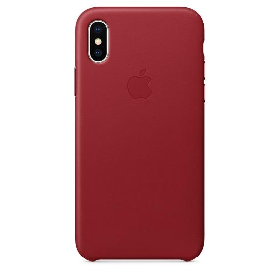 Чехол клип-кейс Apple кожаный для iPhone X красный (MQTE2ZM/A)
