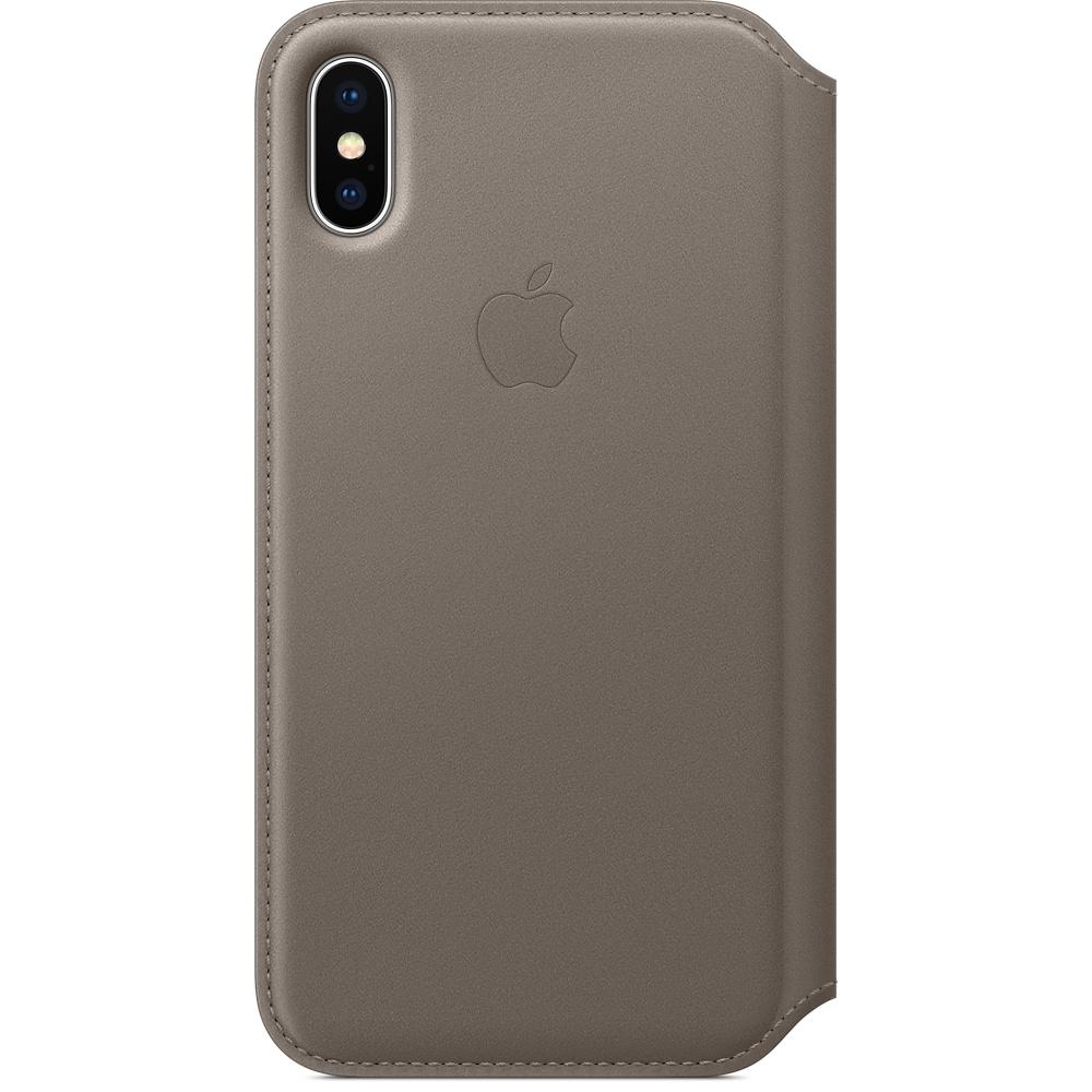 Чехол-книжка кожаный Apple Leather Folio для iPhone X, платиново-серый цвет (MQRY2ZM/A)
