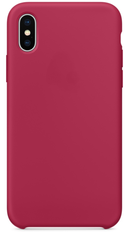 Чехол клип-кейс силиконовый для iPhone X, цвет «красная роза» (реплика)
