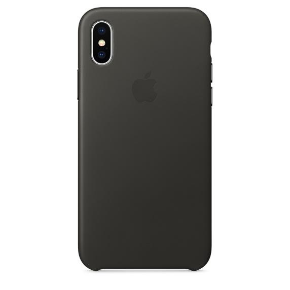 Чехол клип-кейс кожаный Apple Leather Case для iPhone X, угольно-серый цвет (MQTF2ZM/A)