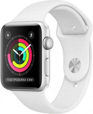 Apple Watch Series 3 42мм, корпус из серебристого алюминия, спортивный ремешок белого цвета (MTF22)