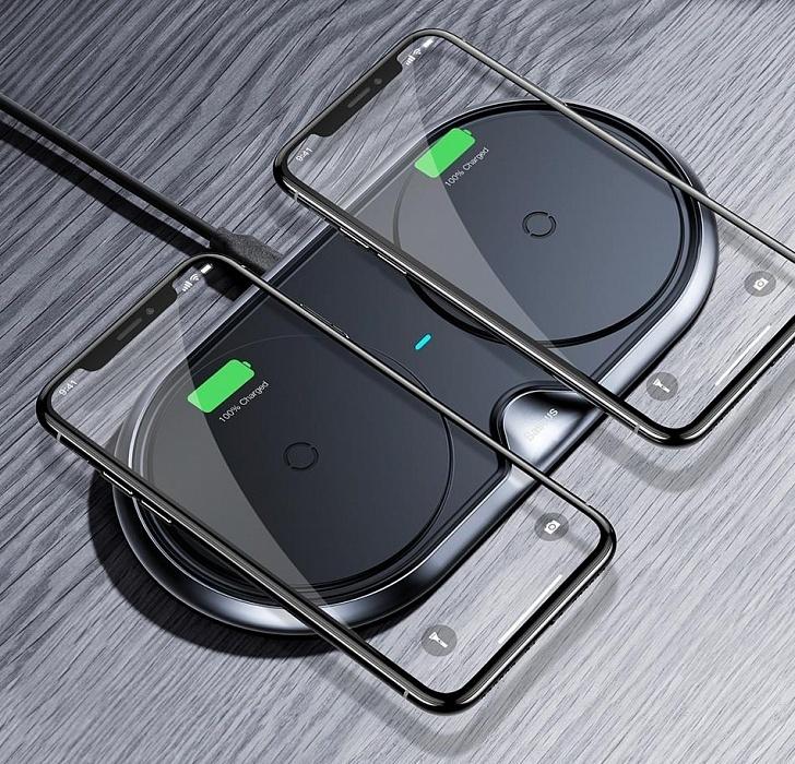 Беспроводное зарядное устройство Baseus Dual Wireless Charger WXXHJ-A01 для двух телефонов + СЗУ (черный)