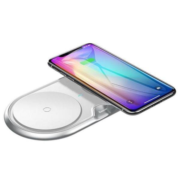 Беспроводное зарядное устройство Baseus Dual Wireless Charger WXXHJ-A01 для двух телефонов + СЗУ  (белый)