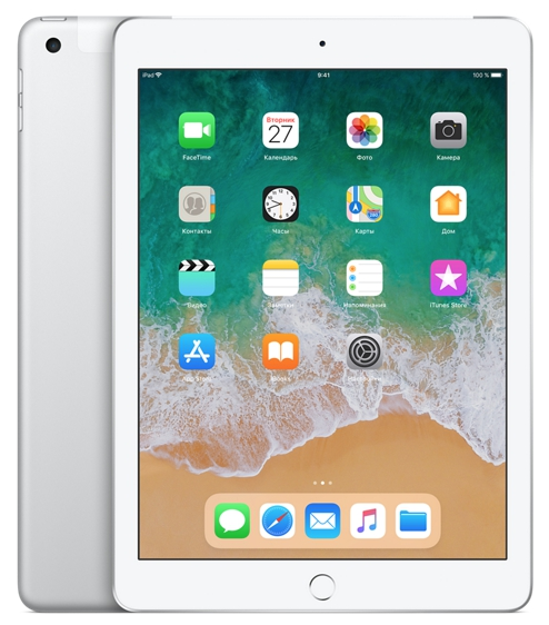 Планшет Apple iPad 9.7'' (2018) 128 Gb Wi-Fi+Cellular [MR732] silver (серебристый)