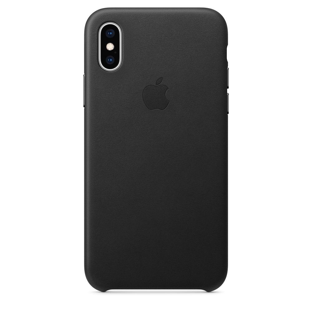 Чехол клип-кейс кожаный Apple Leather Case для iPhone XS, чёрный цвет (MRWM2ZM/A)