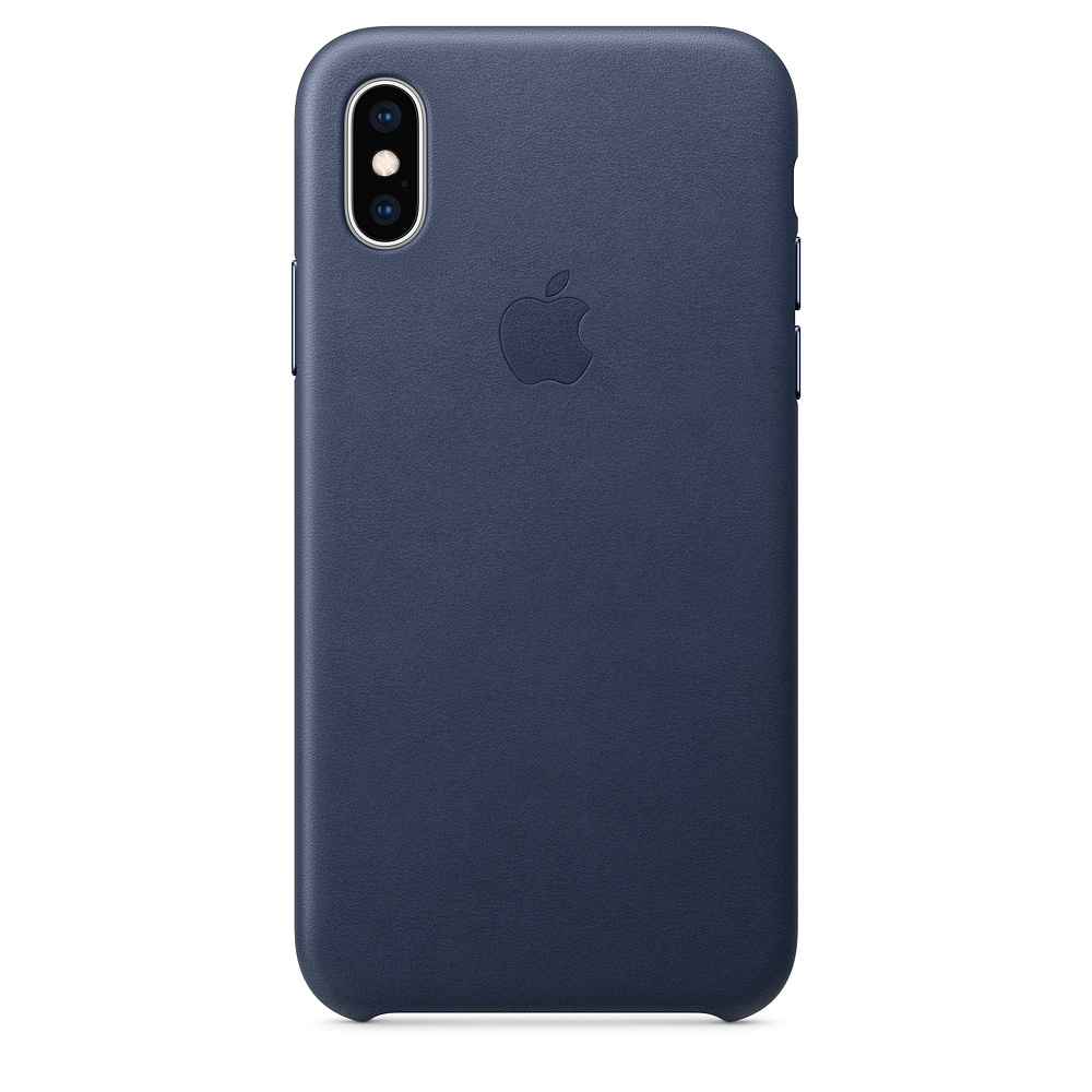 Чехол клип-кейс кожаный Apple Leather Case для iPhone XS, тёмно-синий цвет (MRWN2ZM/A)