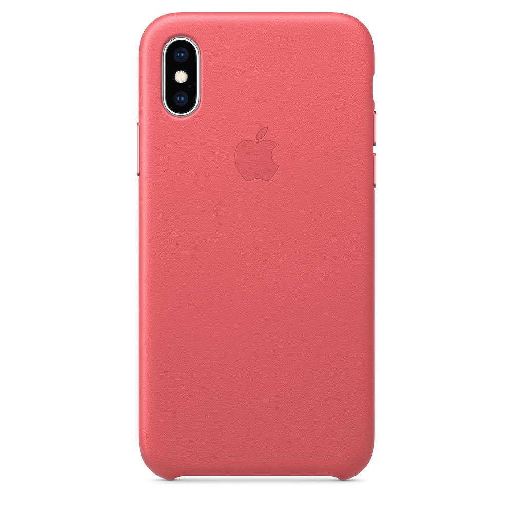 Чехол клип-кейс кожаный Apple Leather Case для iPhone XS, цвет «розовый пион» (MTEU2ZM/A)