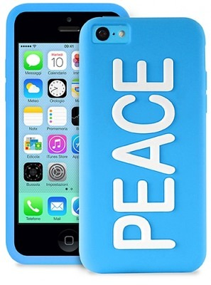 Клип-кейс PURO NightGlow PEACE для iPhone 5C голубой