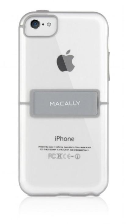 Защитный чехол с подставкой Macally Hard-Shell Case With Stand Clear & Grey (Прозрачный цвет) (K-StandP6) для iPhone 5C