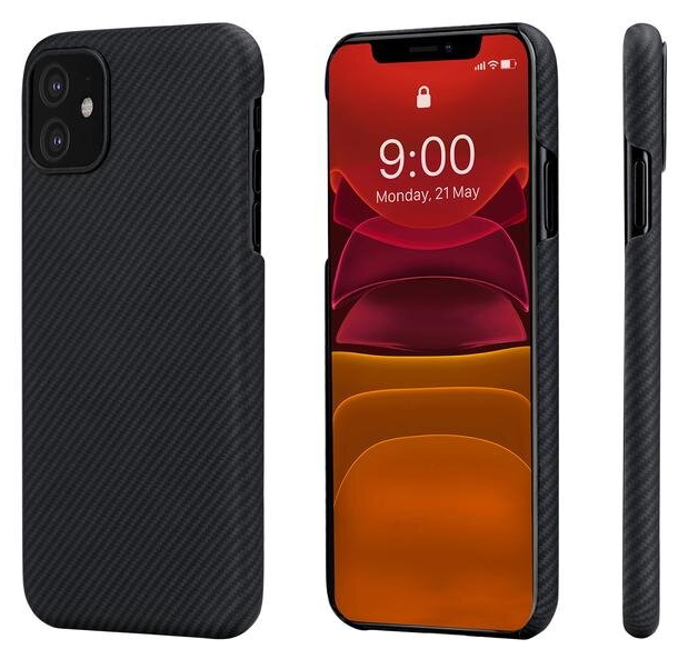 Чехол клип-кейс из кевларового (арамидного) волокна Pitaka Air Case для iPhone 11, чёрно-серый (KI1101RA)